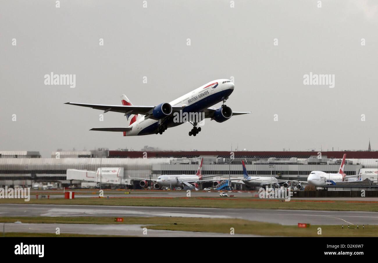 London, United Kingdom, British Airways aircraft at Heathrow airport at the start - Stock Image