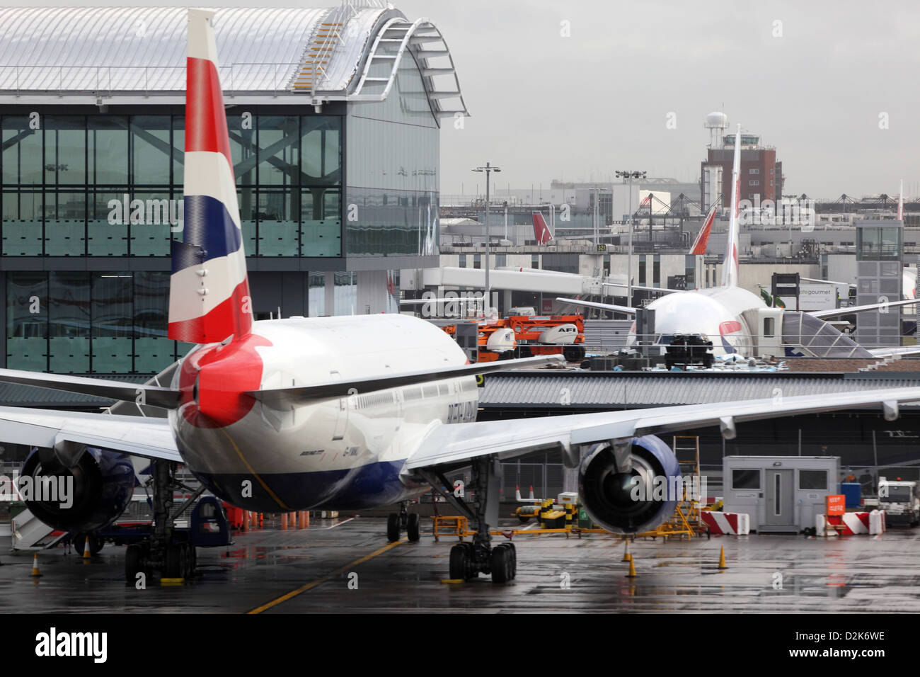 London, United Kingdom, British Airways aircraft at Heathrow Airport Terminal 5 - Stock Image