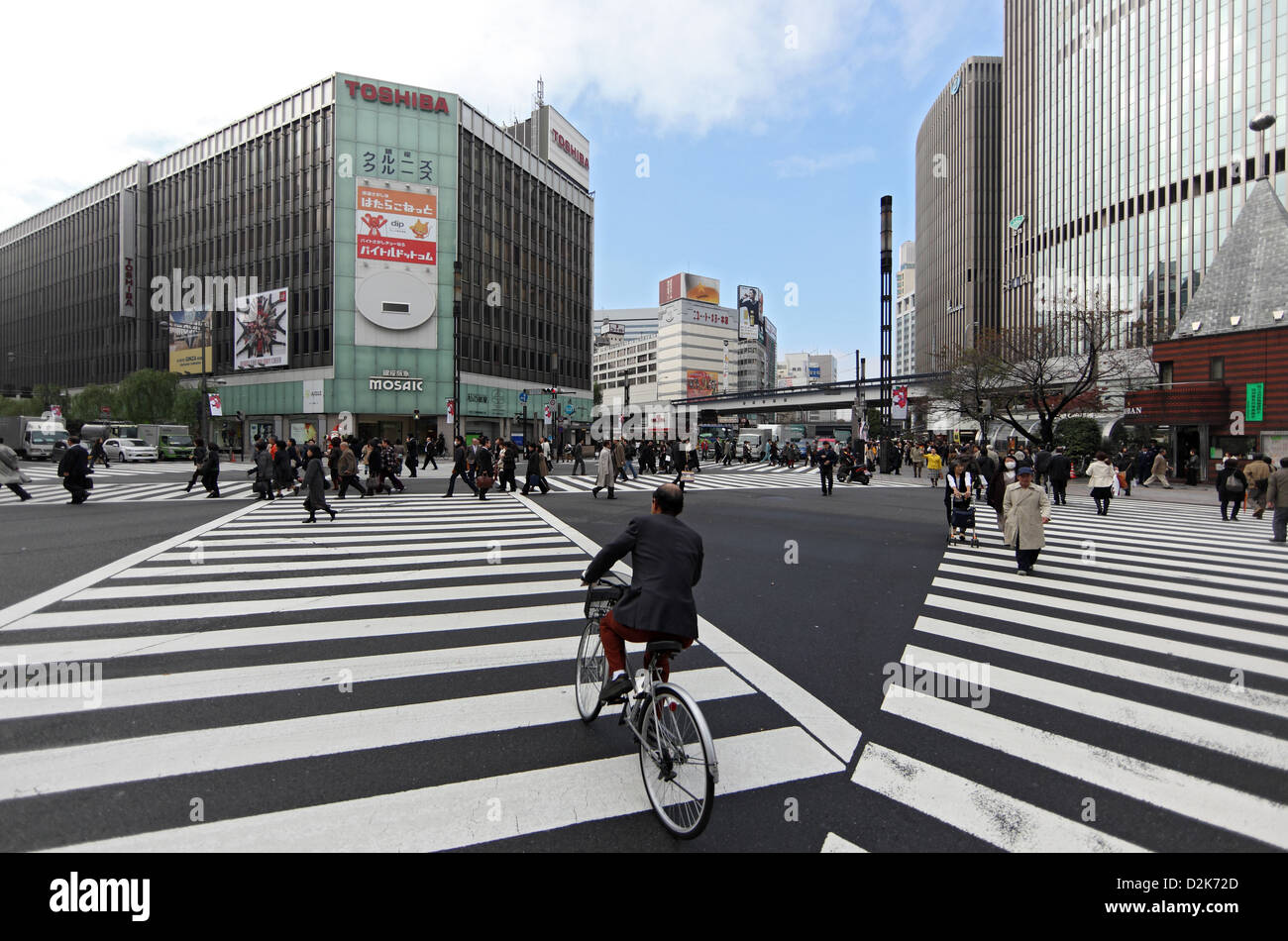 Tokyo, Japan, zebra stripes on a road junction in the Ginza district - Stock Image