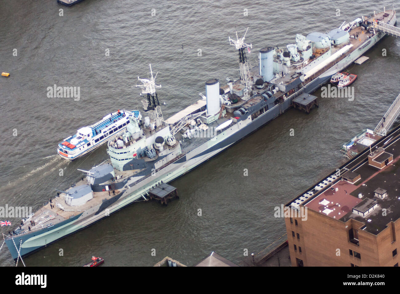 HMS Belfast from the Shard - Stock Image