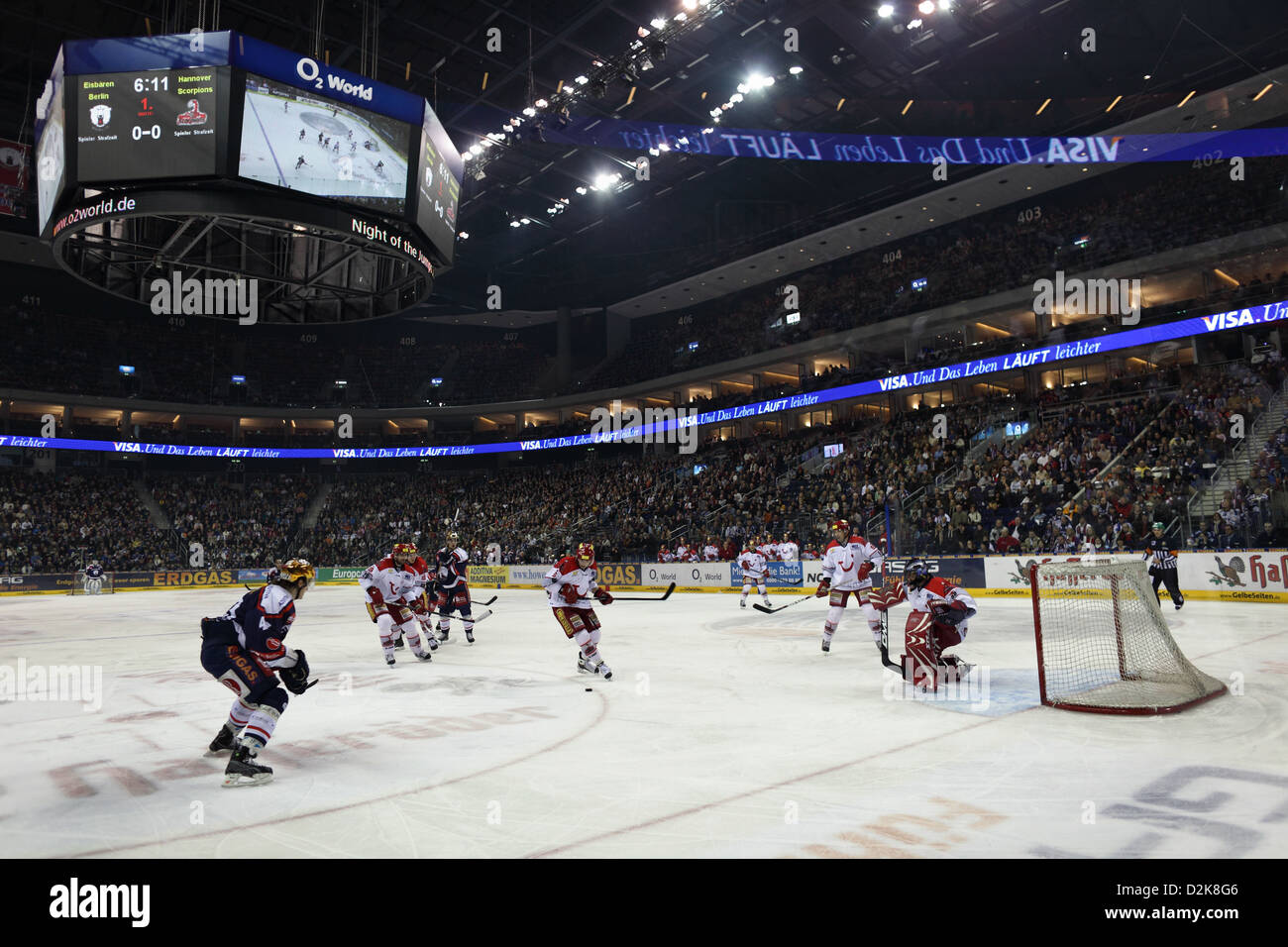 Berlin, Germany, Hockey game at the O2 World Arena - Stock Image