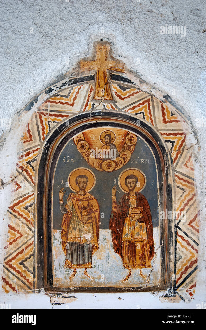 Icon in the wall of a Greek orthodox chapel - Stock Image