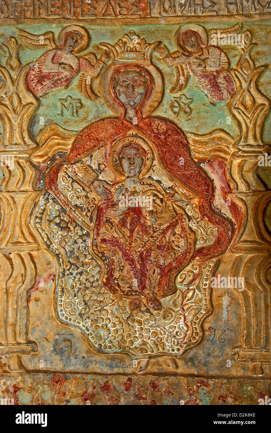 Wall relief at a Greek orthodox chapel - Stock Image