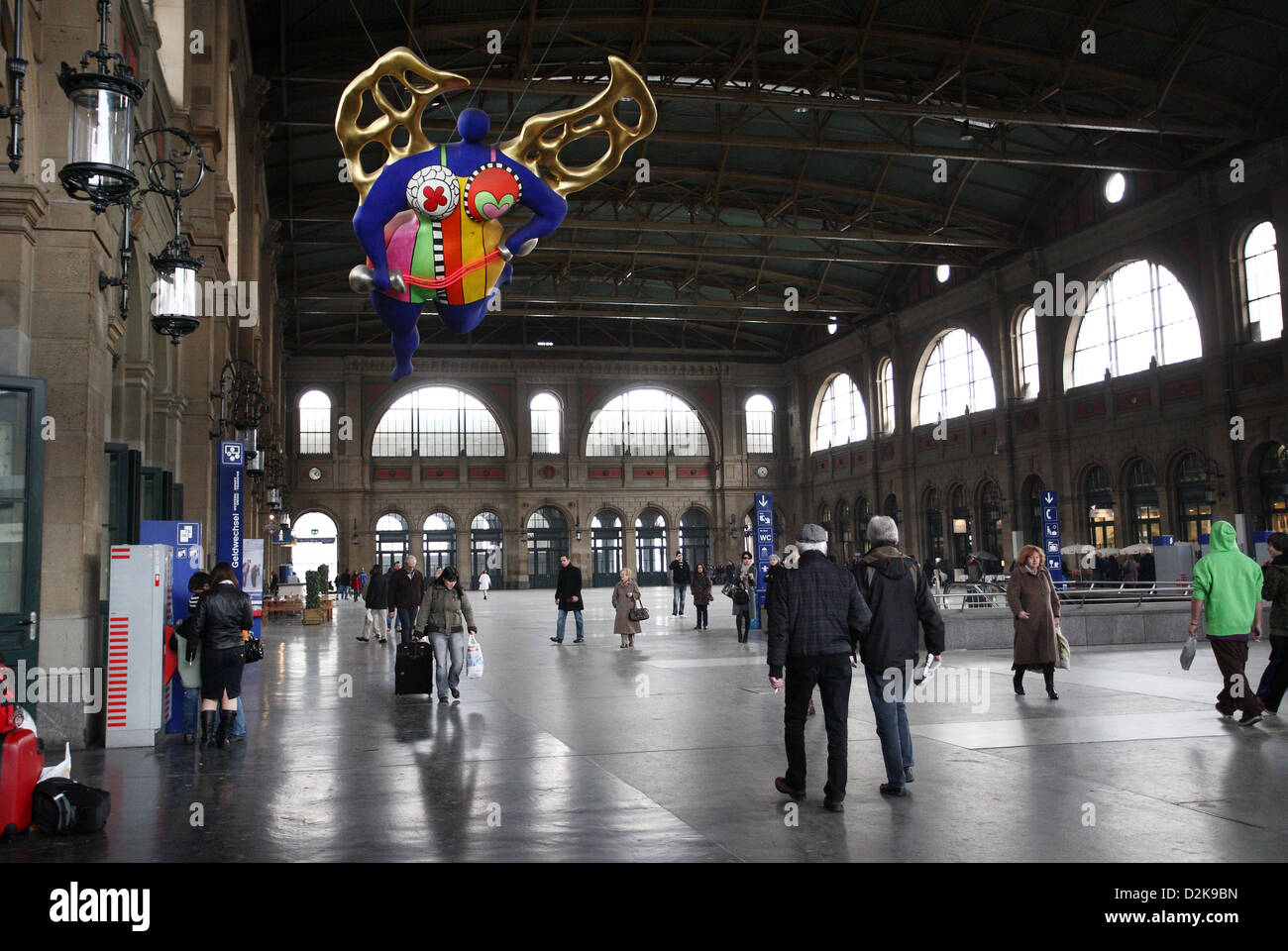 Zurich, Switzerland, in the main station entrance hall with Blue Angel - Stock Image