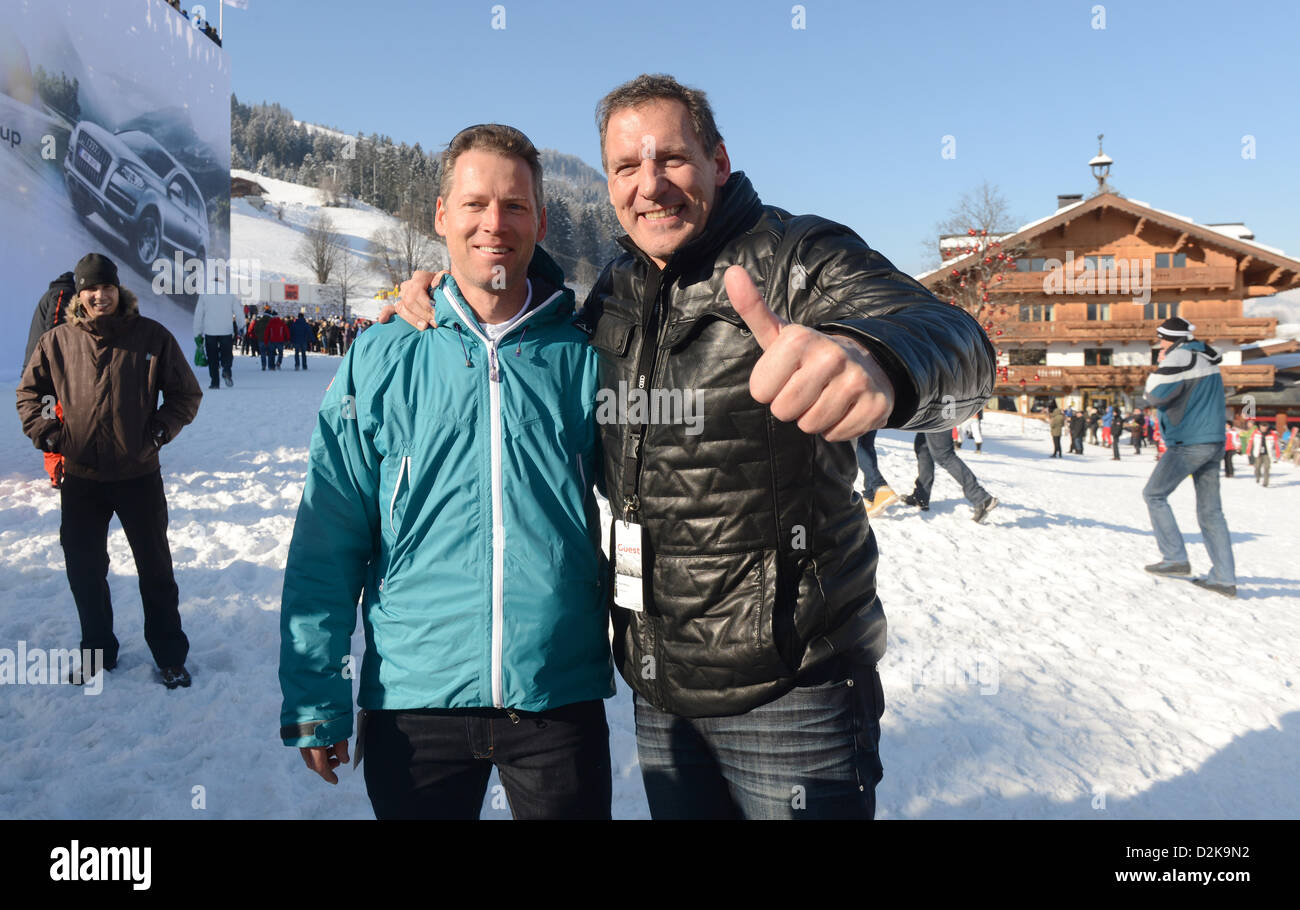 Nephew of Arnold Schwarzenegger, Patrick Knapp (L), and actor Ralf Moeller pose during the legendary Hahnenkamm Race Stock Photo