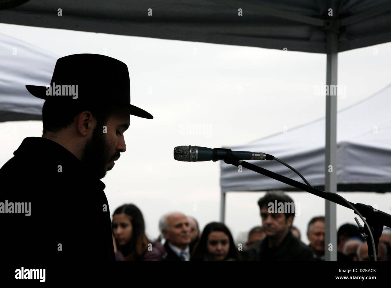 Ceremony in memory of the persecution of the Jewish people during World War II, in Thessaloniki, northern Greece, Stock Photo