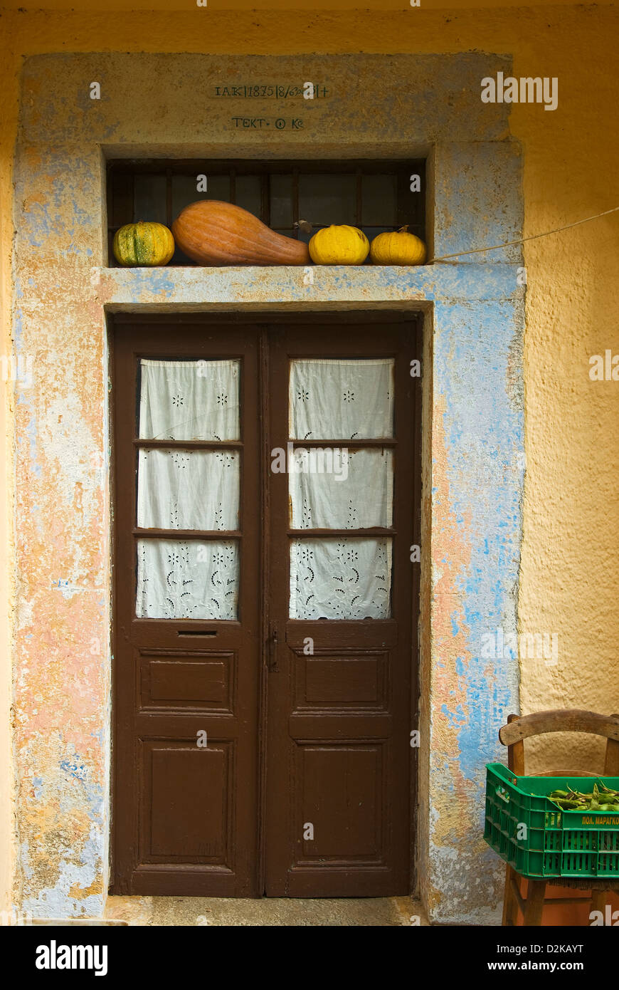 Front door of an old house on Pelion Peninsula - Stock Image