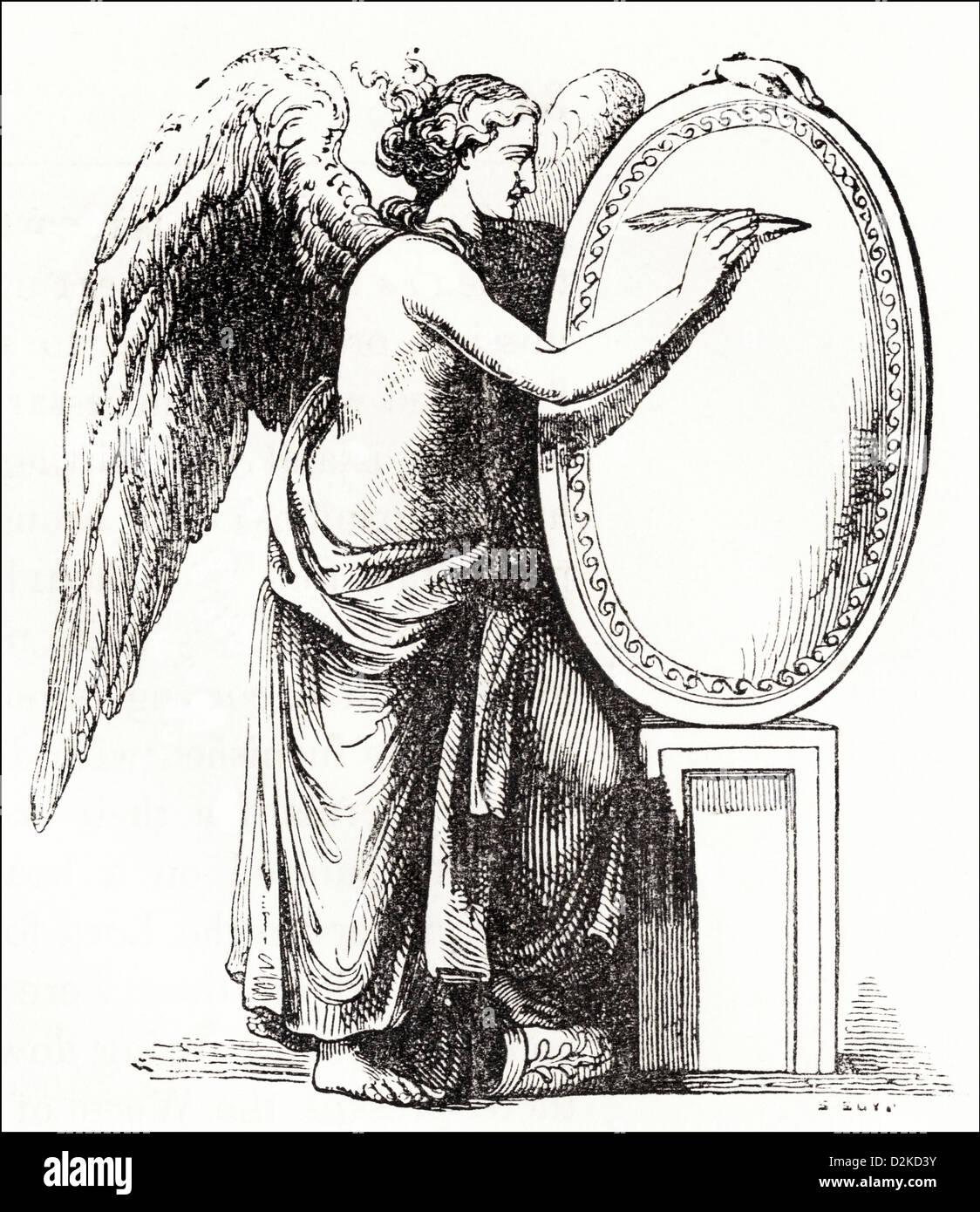 Roman Victory Victorian woodcut engraving circa 1845 - Stock Image