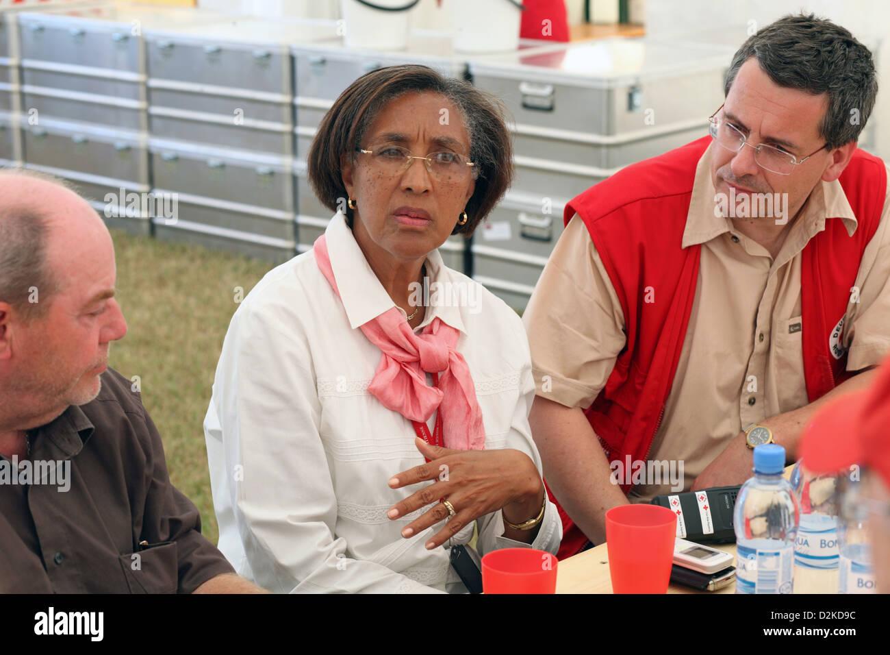 Carrefour, Haiti, talk with Mrs. Michaele Gideon s president of the Haitian Red Cross - Stock Image