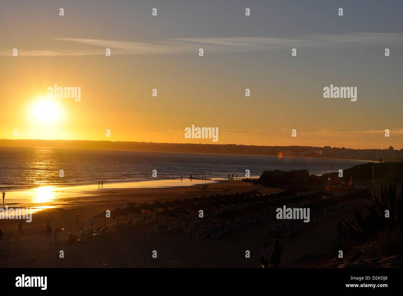 Sunset in Gale, Faro District, Algarve Region, Portugal - Stock Image