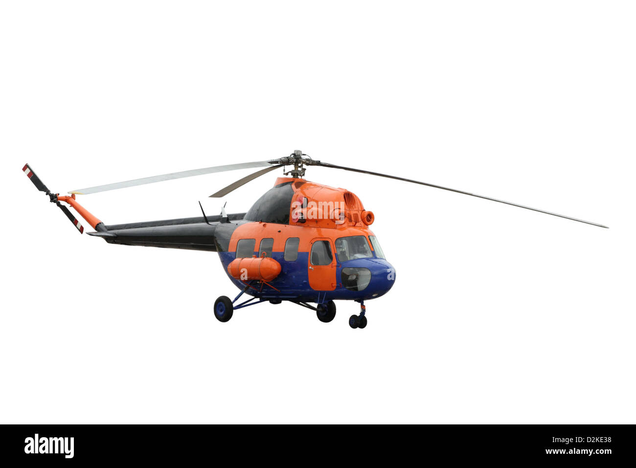 The orange helicopter separately on a white background - Stock Image