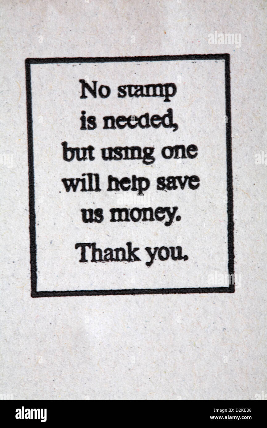 No stamp is needed but using one will help save us money. Thank you stamp on envelope for charity - Stock Image