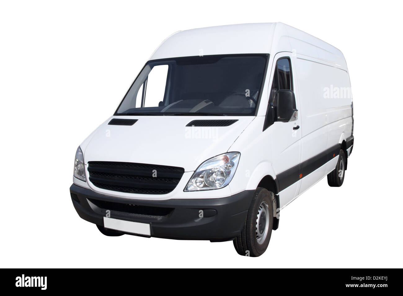 Small compact van separately on a white background - Stock Image