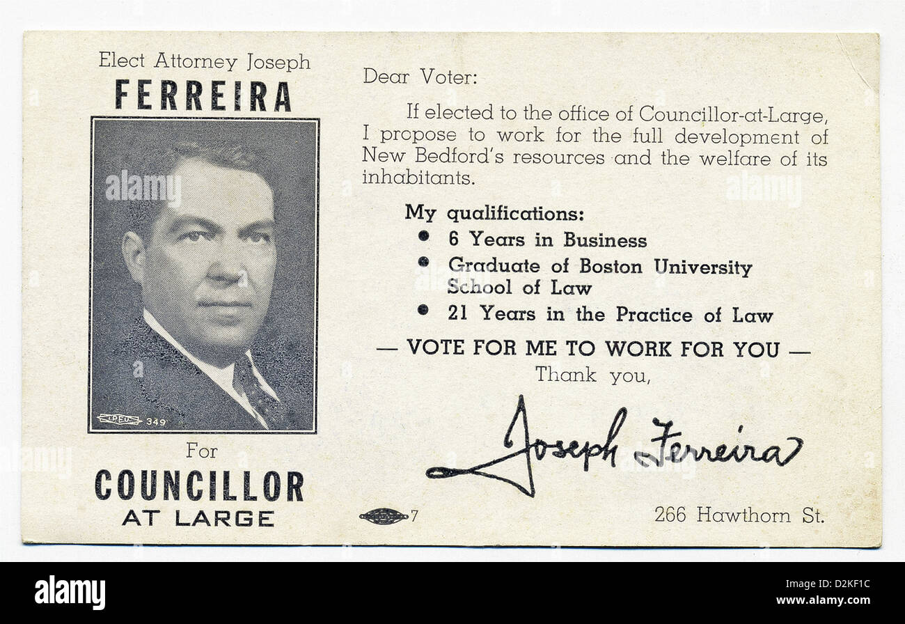 This candidate flyer dates to 1950. The text on the left reads: Elect Attorney Joseph Ferrreira For Councillor At - Stock Image