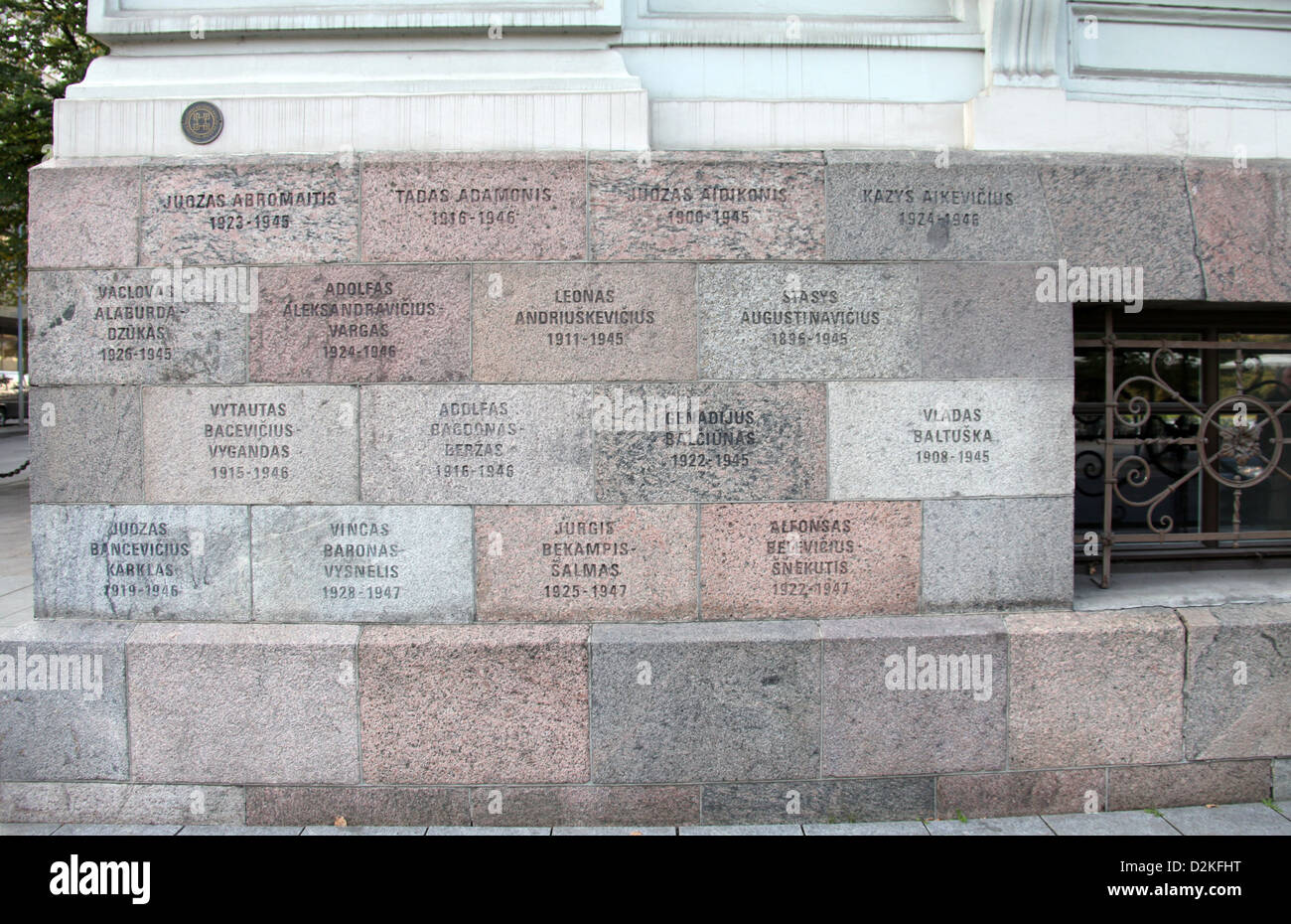 Exterior Wall of the Genocide Museum in Vilnius showing the names of victims. - Stock Image