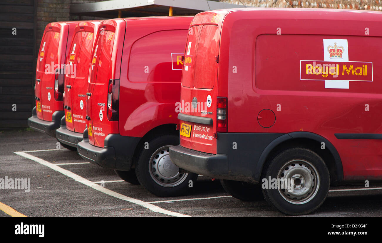 Royal Mail vans parked at a Post Office - Stock Image