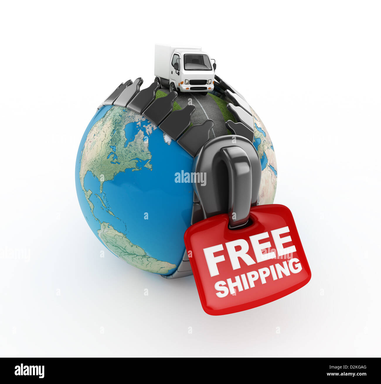 3D Truck on world -Free shipping -isolated Stock Photo
