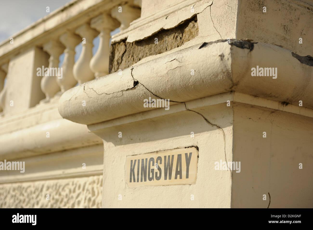 Dilapidated balustrade on Kingsway - Stock Image