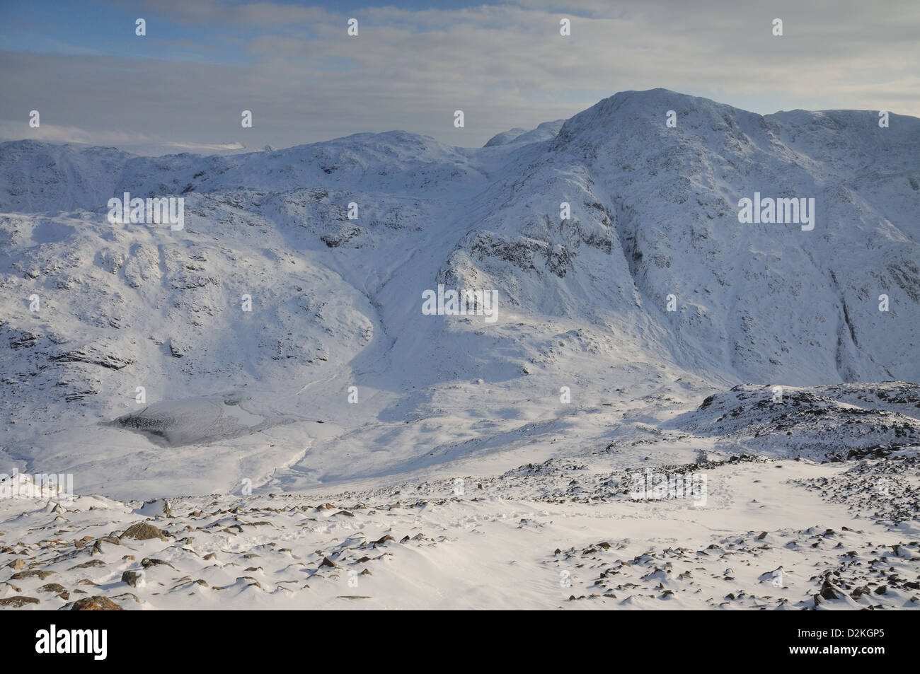 View of frozen Styhead Tarn, Great Slack, and Great End from Great Gable in winter in the English Lake District - Stock Image