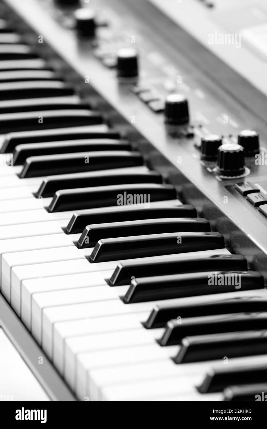 keyboards on an electric piano - Stock Image