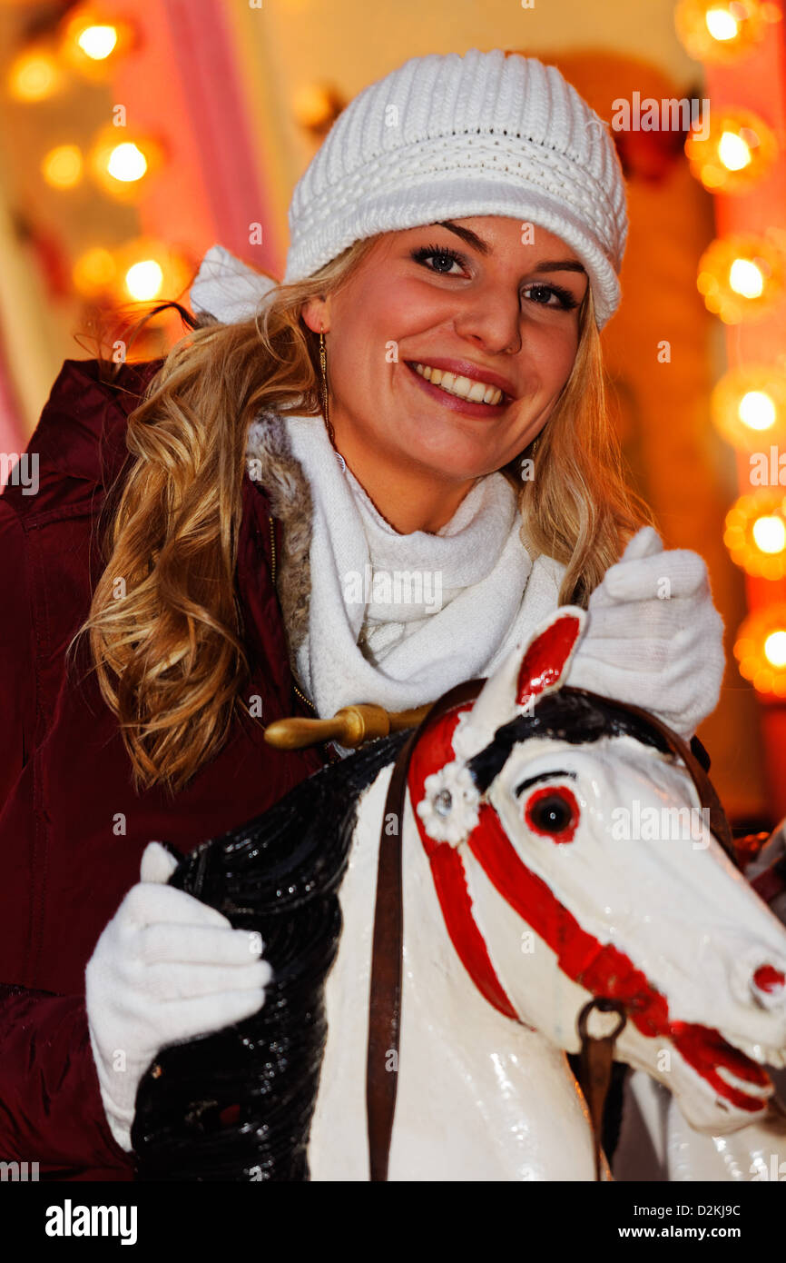 young woman at Heidelberg christmas market, Baden-Württemberg, Germany - Stock Image
