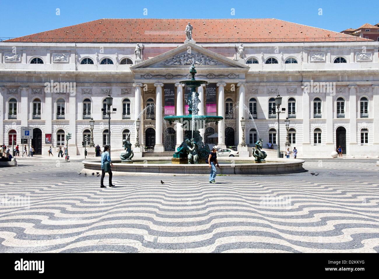 Rossio Square(also known as Pedro IV Square ( Praça de D. Pedro IV)) and National Theatre, central Lisbon, Portugal. Stock Photo