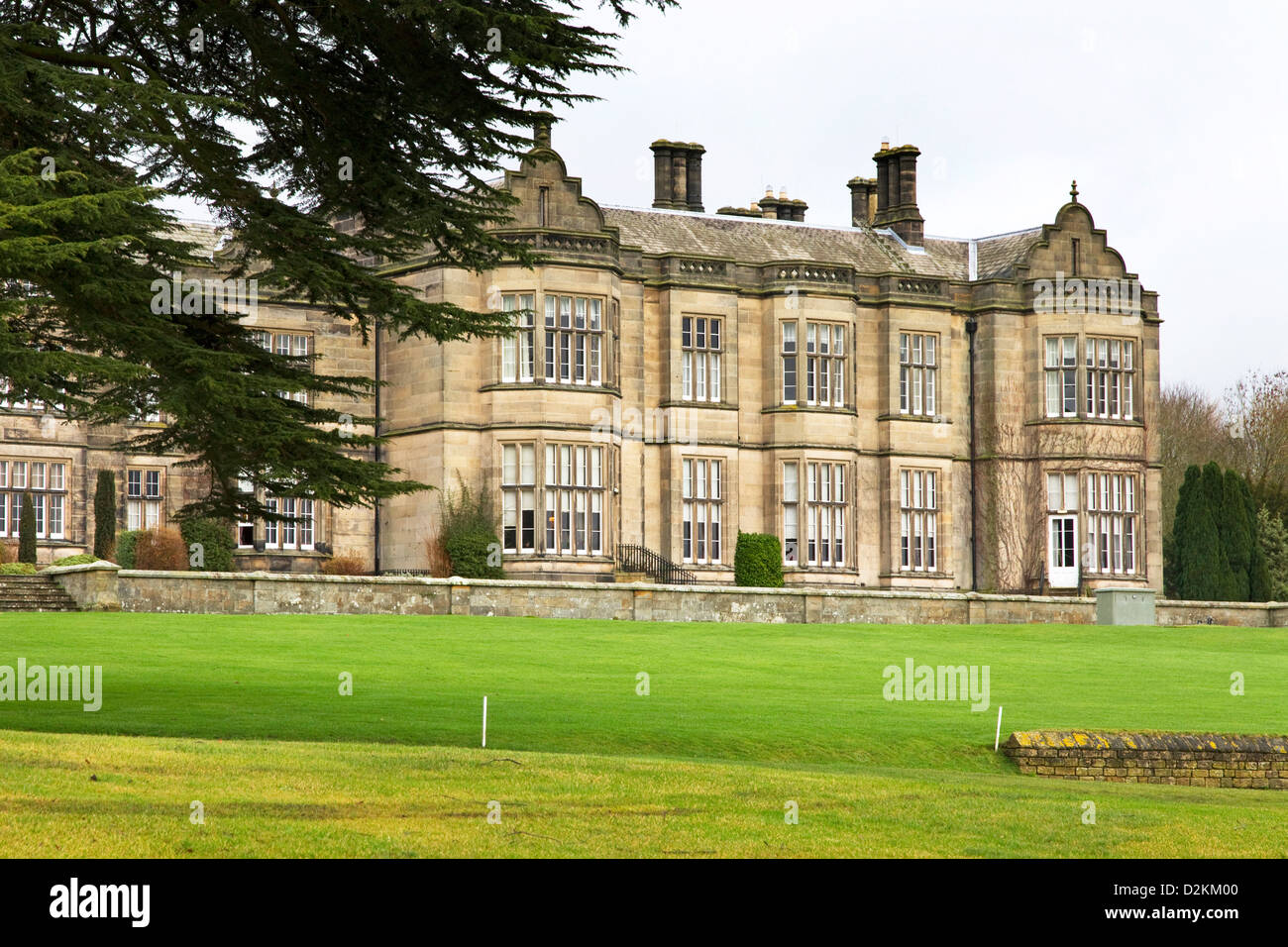 Matfen Hall, former stately home , now Hotel, Golf + Spa, Matfen, Northumberland, England, UK - Stock Image