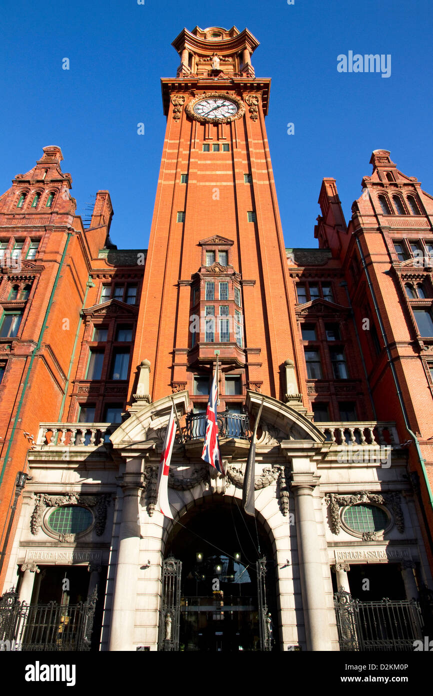 Entrance and Tower of Palace Hotel, formerly Refuge Assurance Building, Oxford Street, Manchester, UK - Stock Image