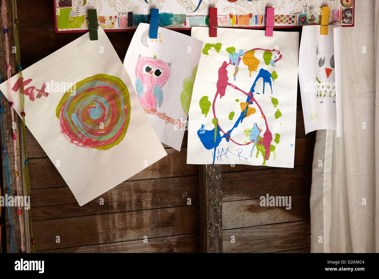 Children art work displayed - Stock Image