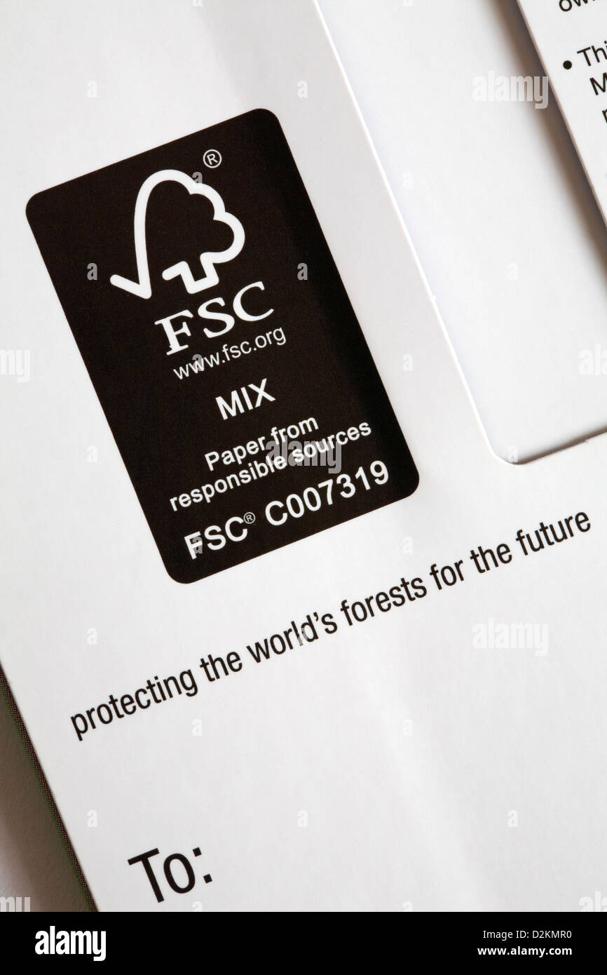 FSC mix paper from responsible sources protecting the world's forests for the future logo on M&S giftcard - Stock Image