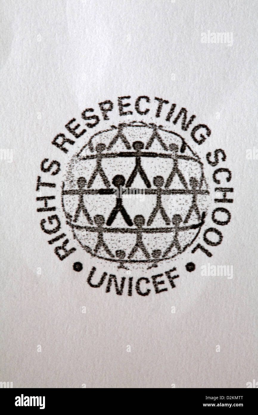 Unicef rights respecting school logo on letter footer - Stock Image