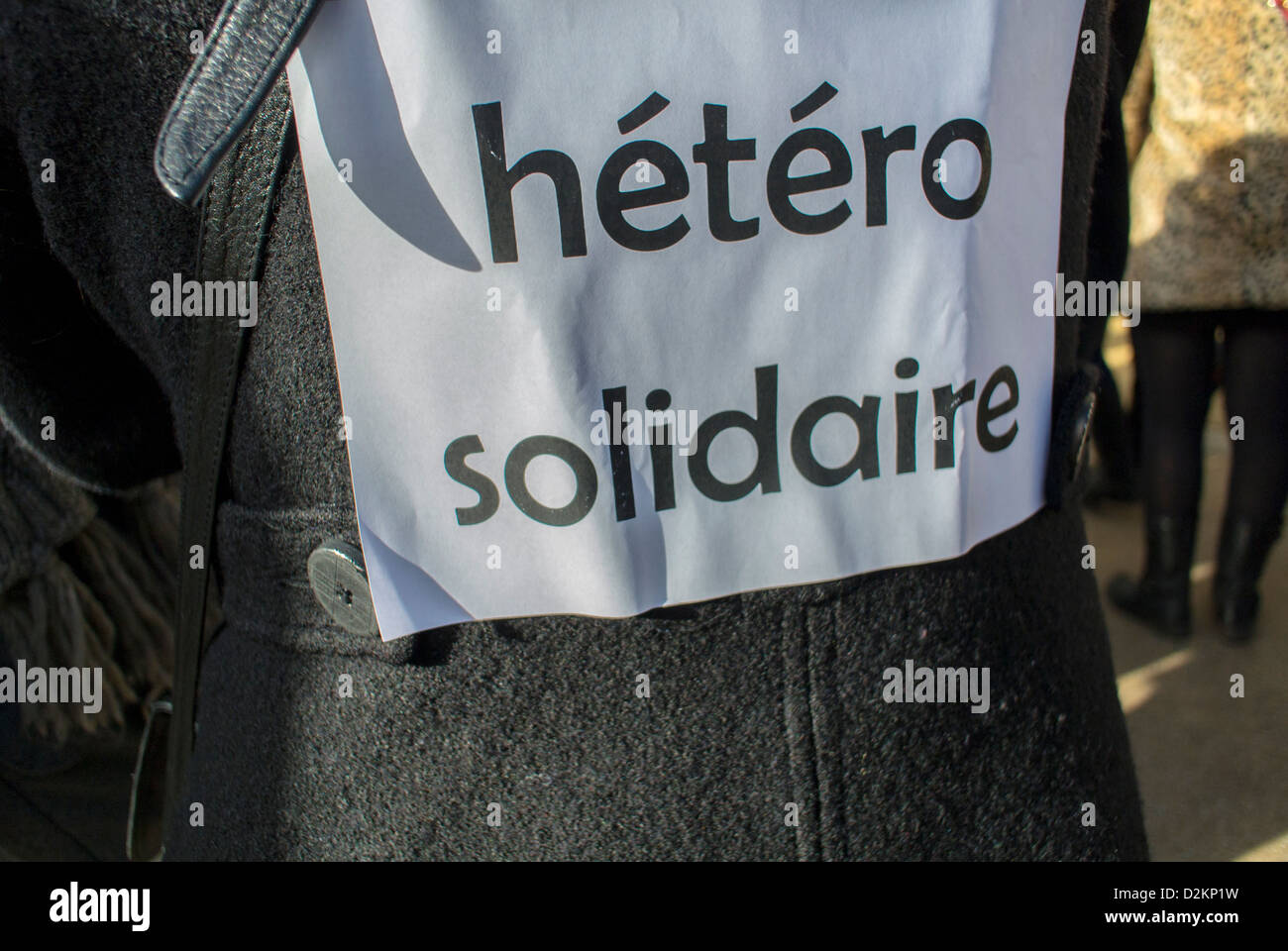 Paris, France, French LGTB Detail Sign on Woman's Back, at pro-Gay Mar-riage Demonstration, 'Solidarity - Stock Image