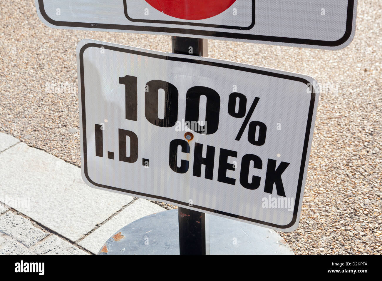 100% ID Check sign - Stock Image