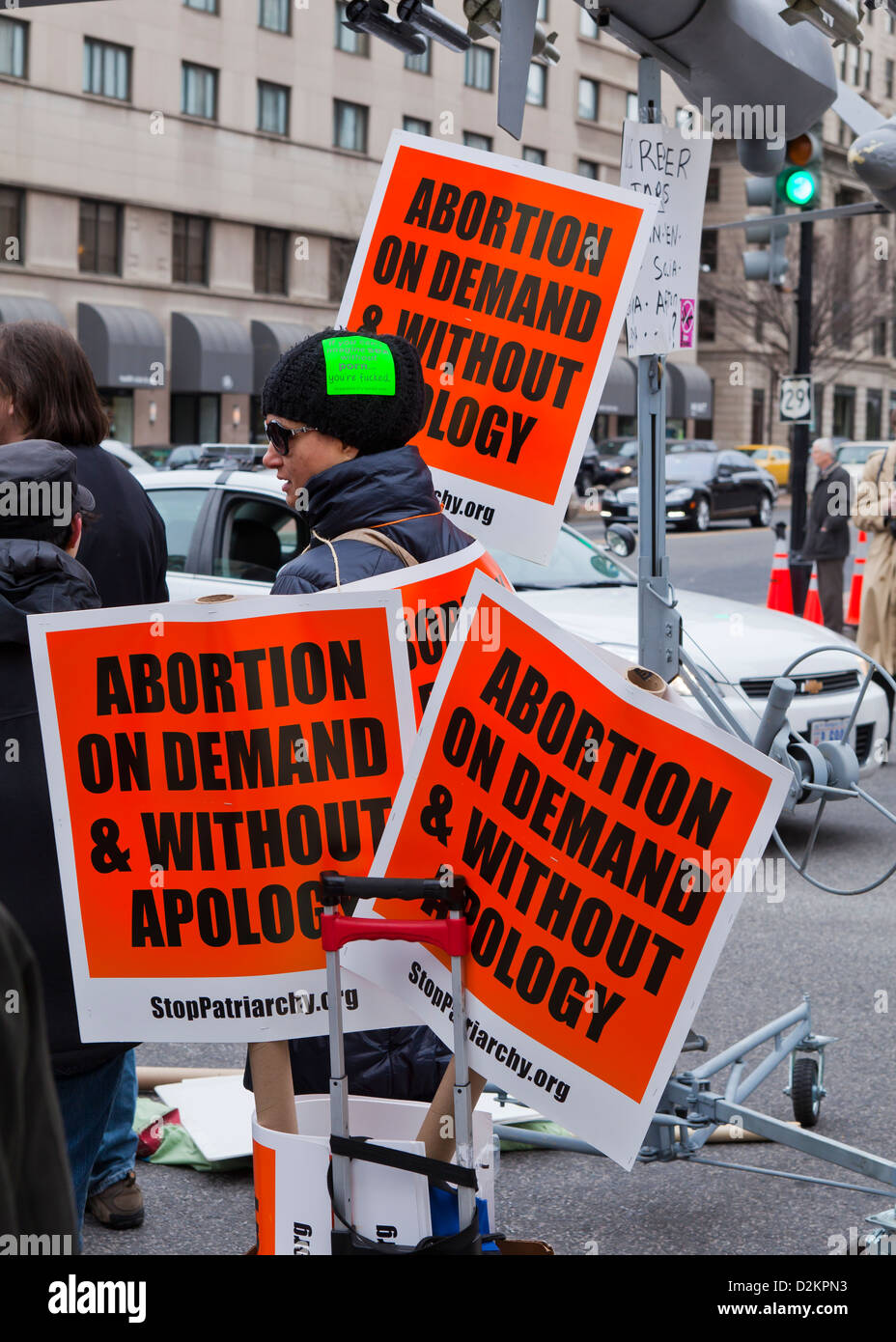 Pro abortion message placards - Stock Image