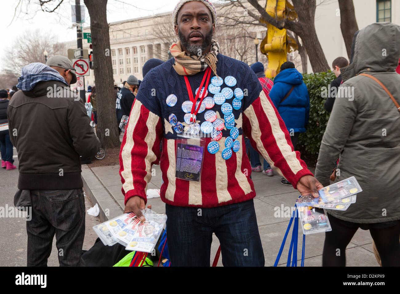 Man selling Obama 2012 Inauguration memorabilia in Washington DC - Stock Image