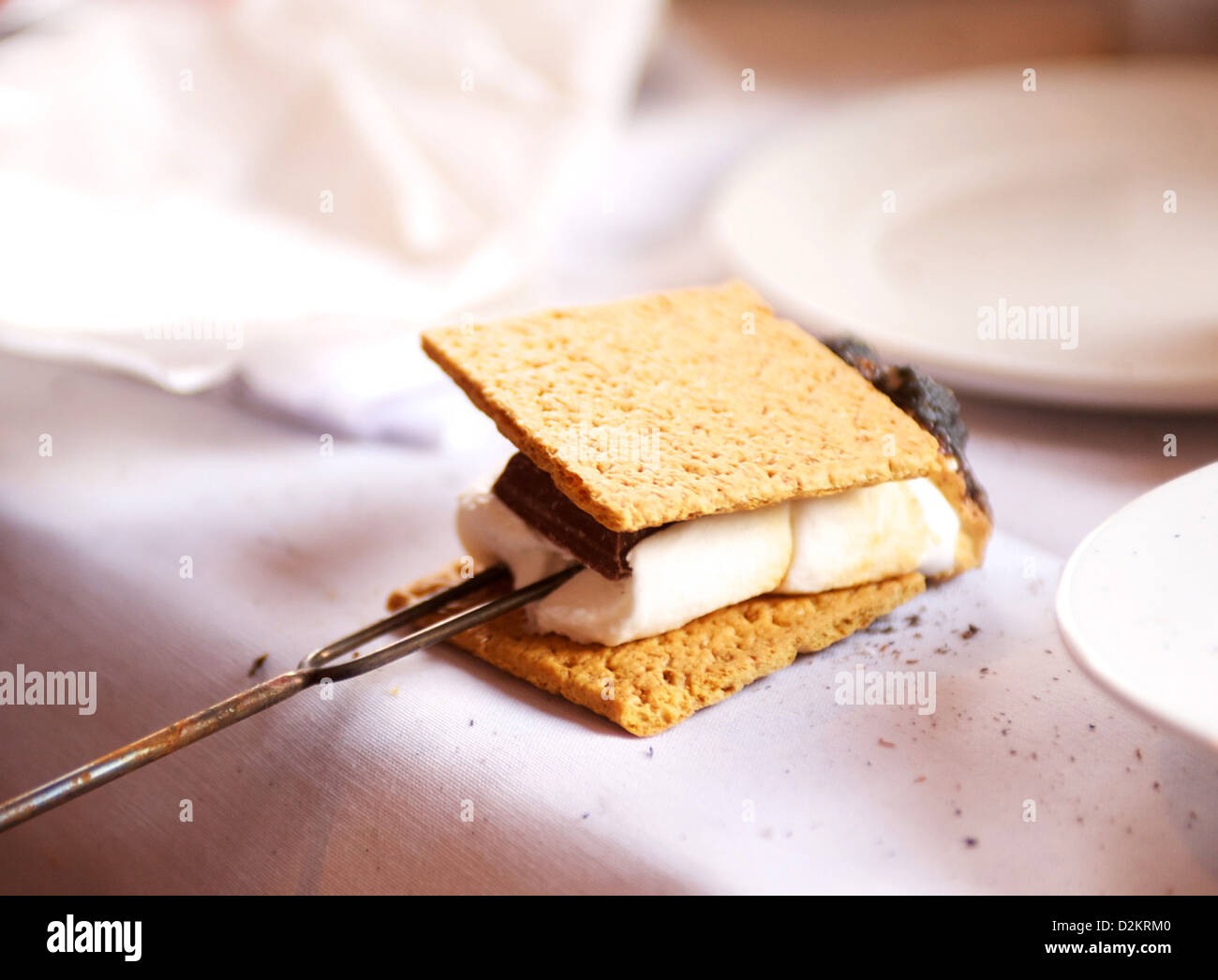 S'mores. Graham cracker, chocolate, and marshmallow, roasted over a campfire. - Stock Image