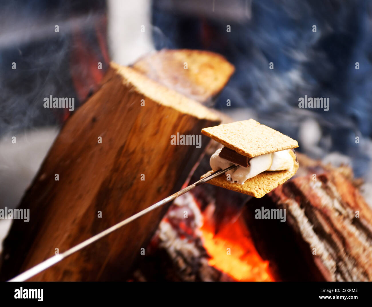 Graham Cracker Chocolate And Marshmallow Roasted Over A Campfire