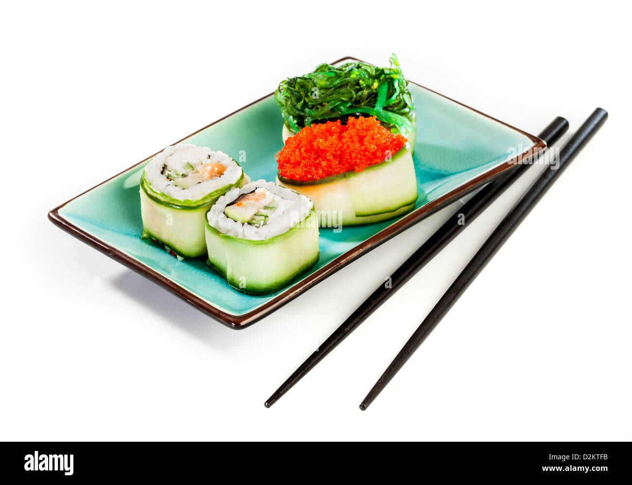 Sushi Roll on a white background - Stock Image