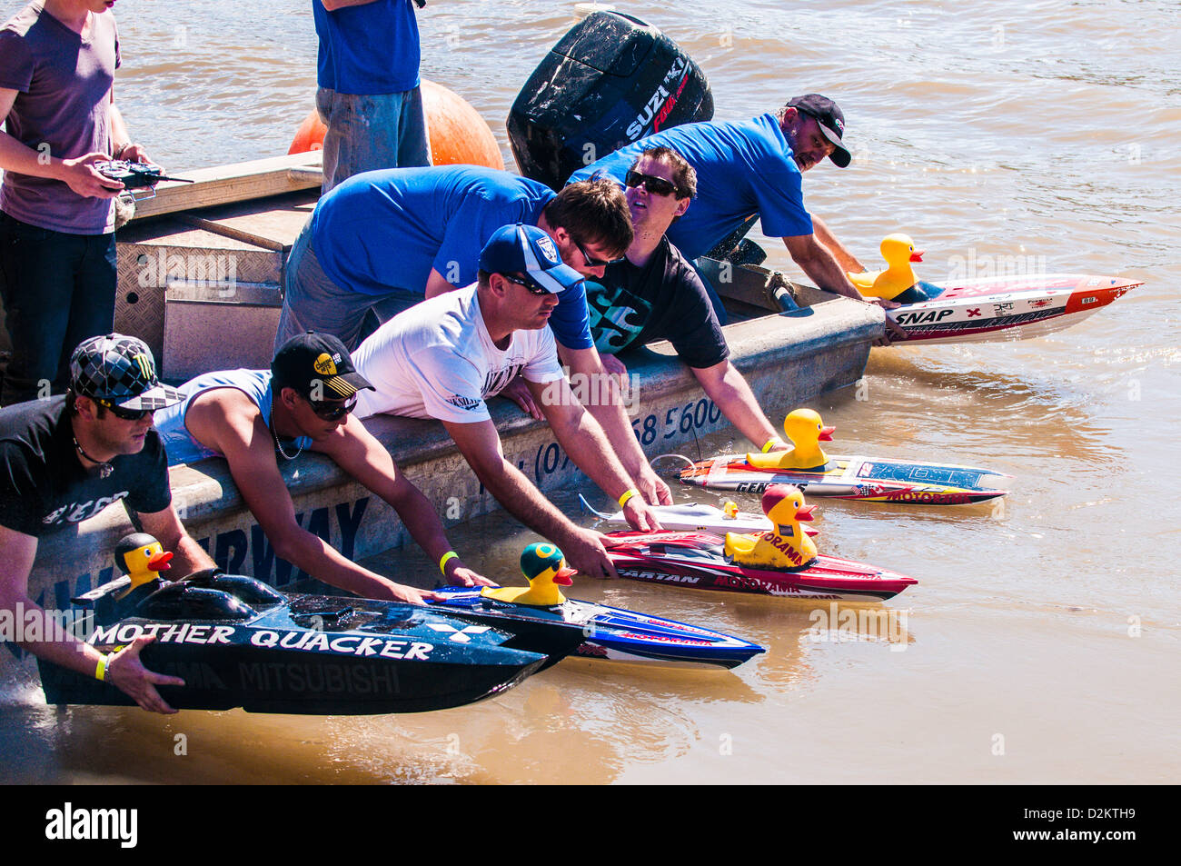 Rubby Ducky boat race, Brisbane River, Queensland, Australia - Stock Image