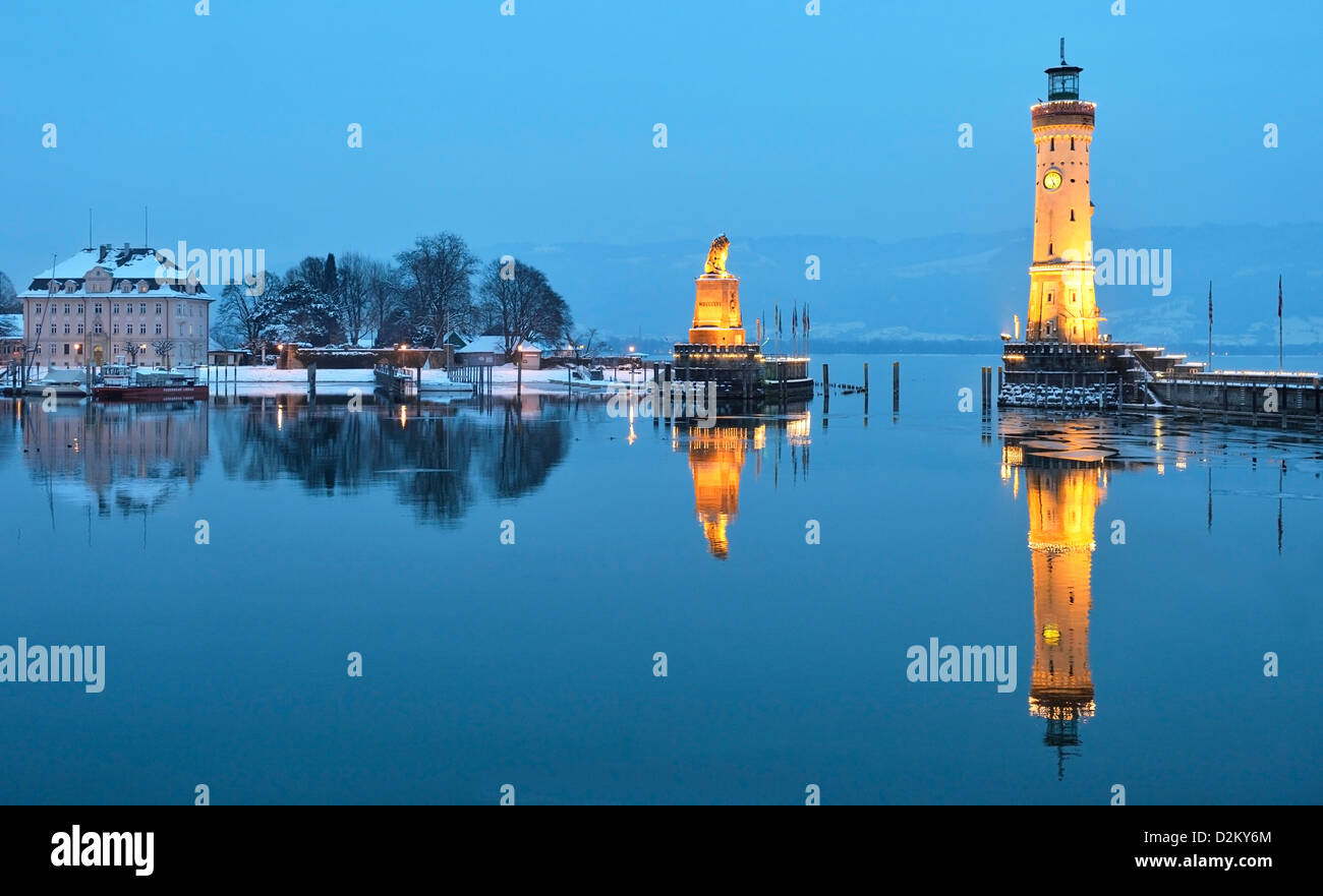 Lindau Harbor In Winter Bodensee Germany Stock Photo 53298860 Alamy
