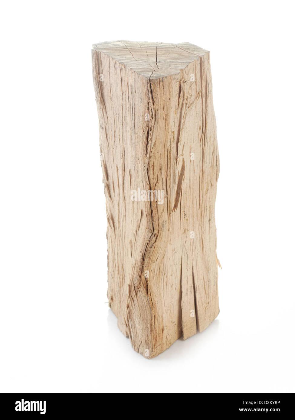 Piece of chopped beechwood shot on white - Stock Image