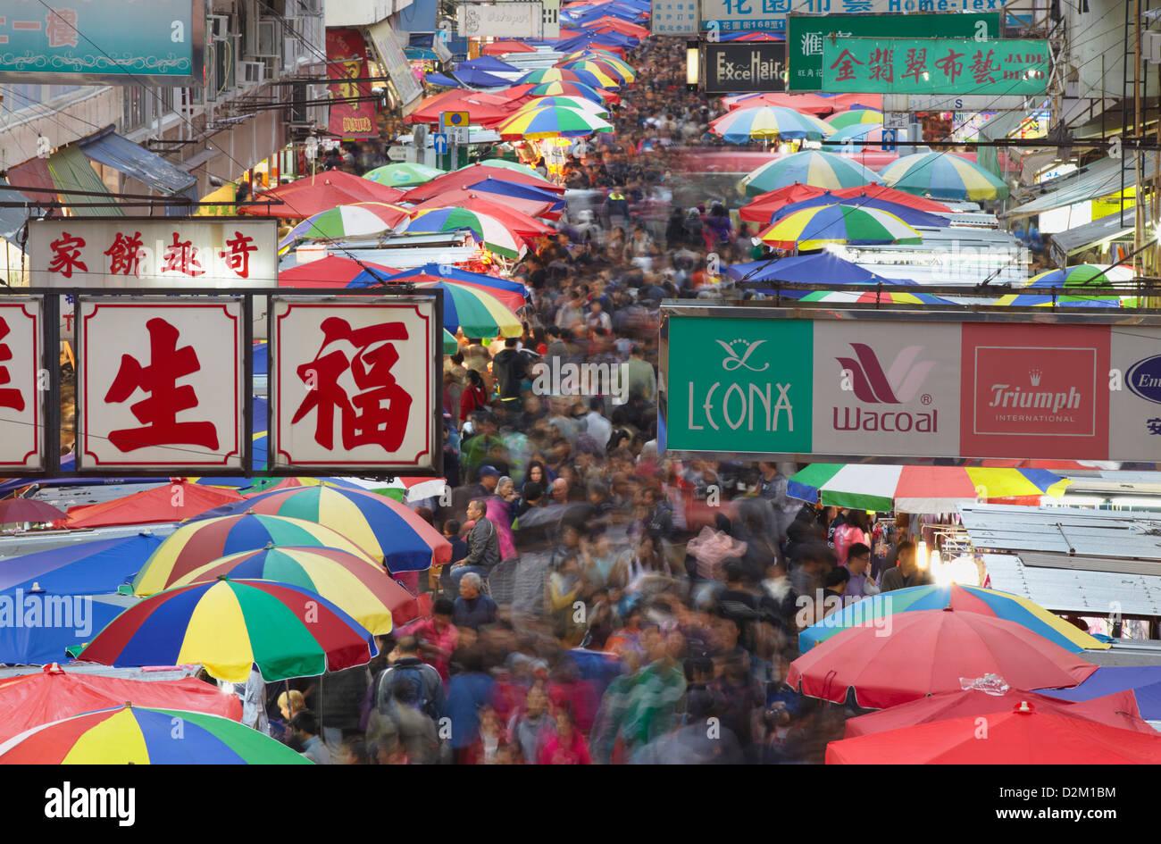 Crowds at Fa Yuen Street Market, Mongkok, Hong Kong, China - Stock Image