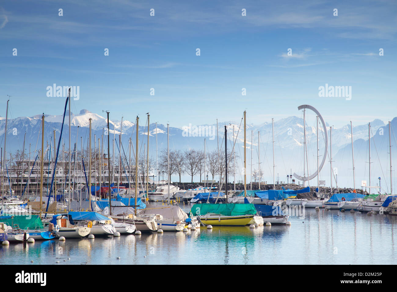 Ouchy harbour, Lausanne, Vaud, Switzerland - Stock Image