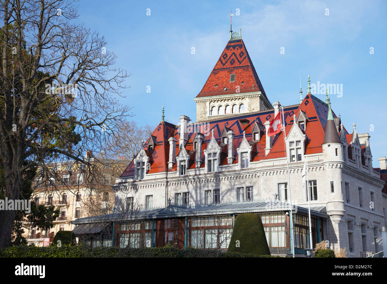 Le Chateau d'Ouchy, Ouchy, Lausanne, Vaud, Switzerland - Stock Image