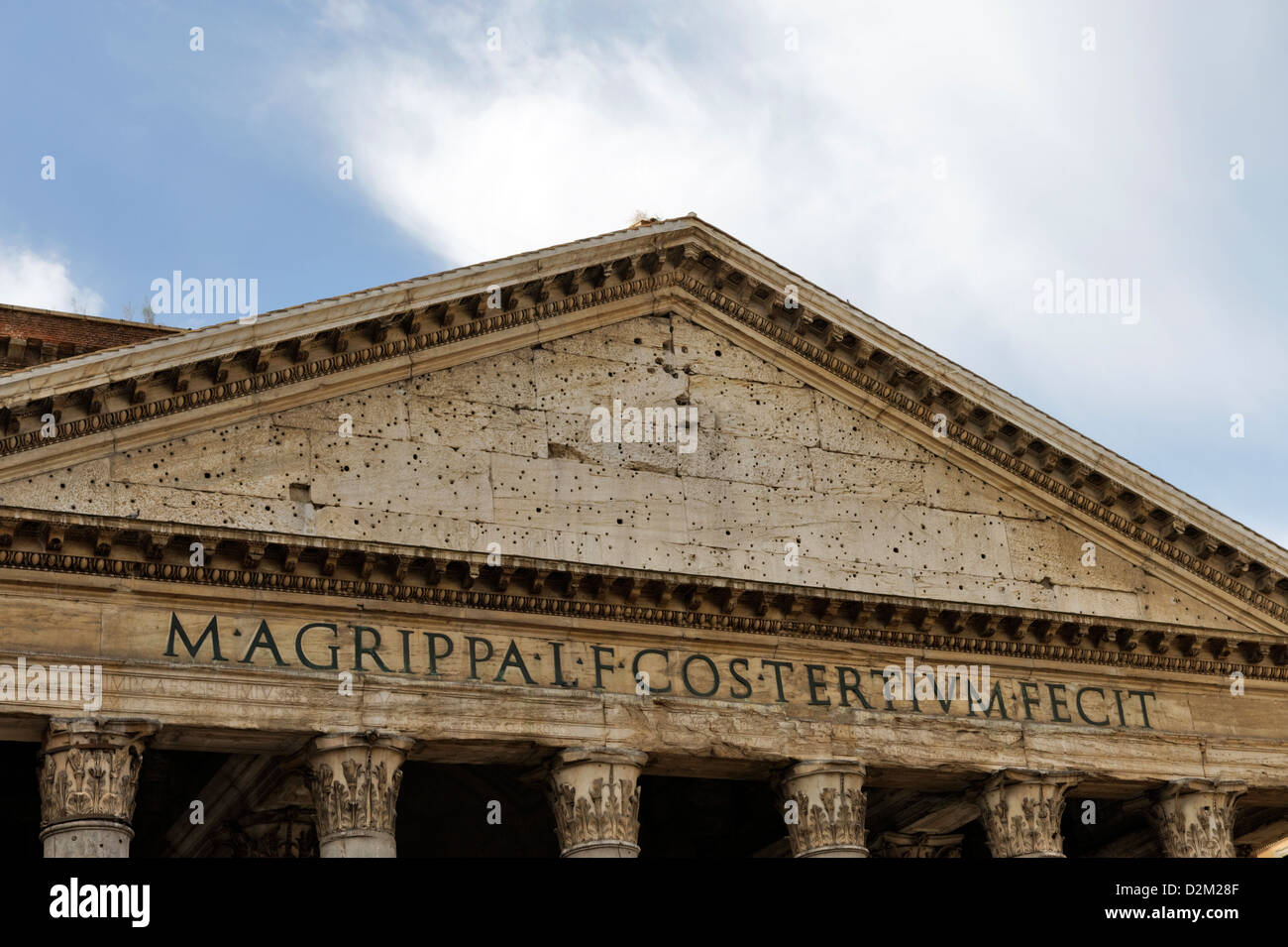 Rome. Italy. View of the grandiose granite columned portico and pediment of the Pantheon, an architectural masterpiece. Stock Photo