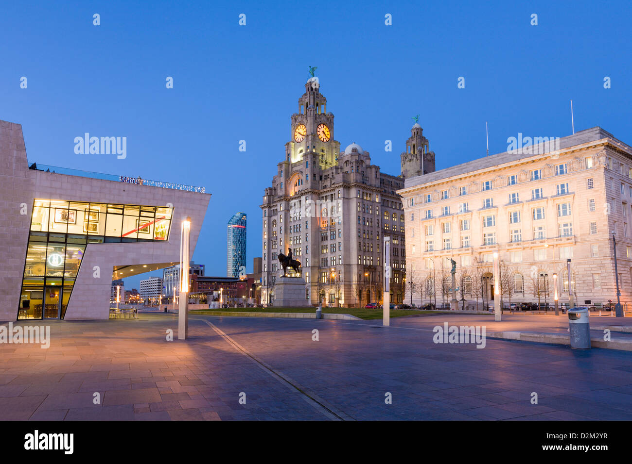 Pier head ferry terminal with Liver Buildings and statue of Edward VII, Liverpool, England - Stock Image