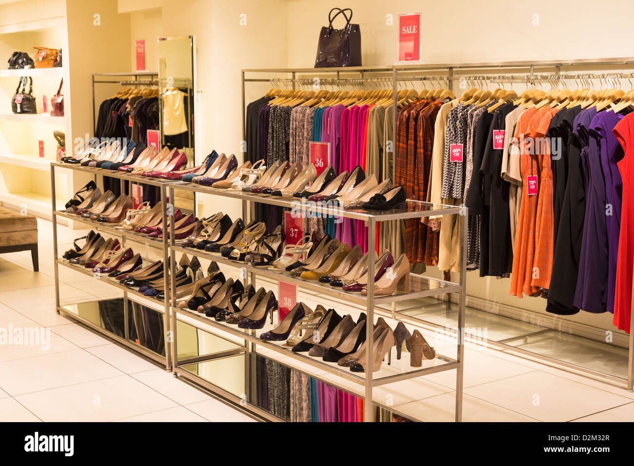 26742bb2903 Womens clothing shop with shoes and dresses Stock Photo: 53301887 ...