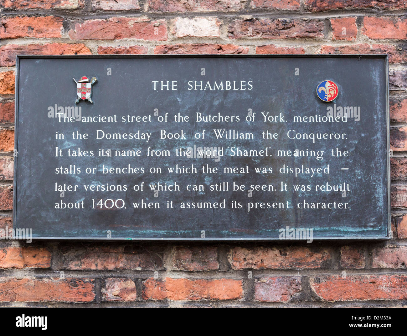 The Shambles sign and description, York - Stock Image