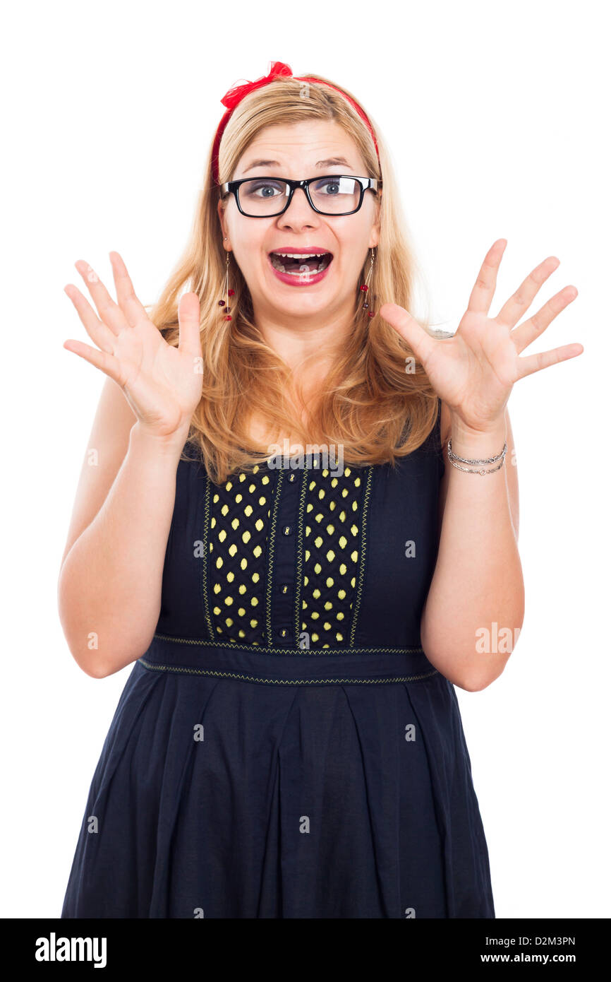 Portrait of funny ecstatic woman in eyeglasses, isolated on white background. - Stock Image