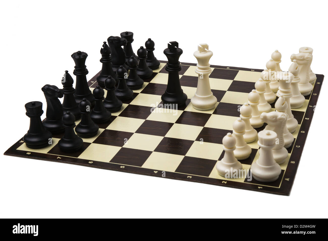 Peace negotiations at the summit level. A ready to play sets of chess and black and white kings in the middle of Stock Photo